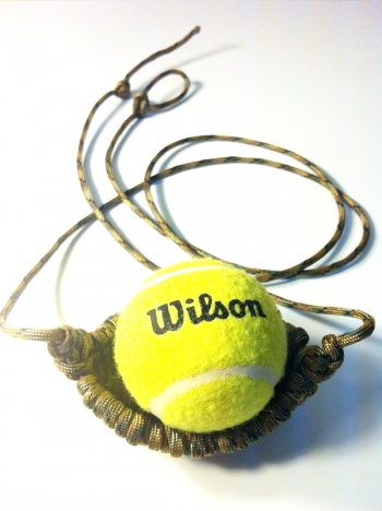 Tennis Ball Thrower - Woven Paracord Shepherd Sling (You choose color for Pouch & Cords)